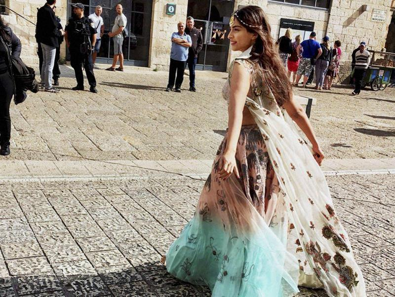 Bollywood actor Sonam Kapoor during a fashion shoot in Jerusalem, Israel recently.  (PTI)
