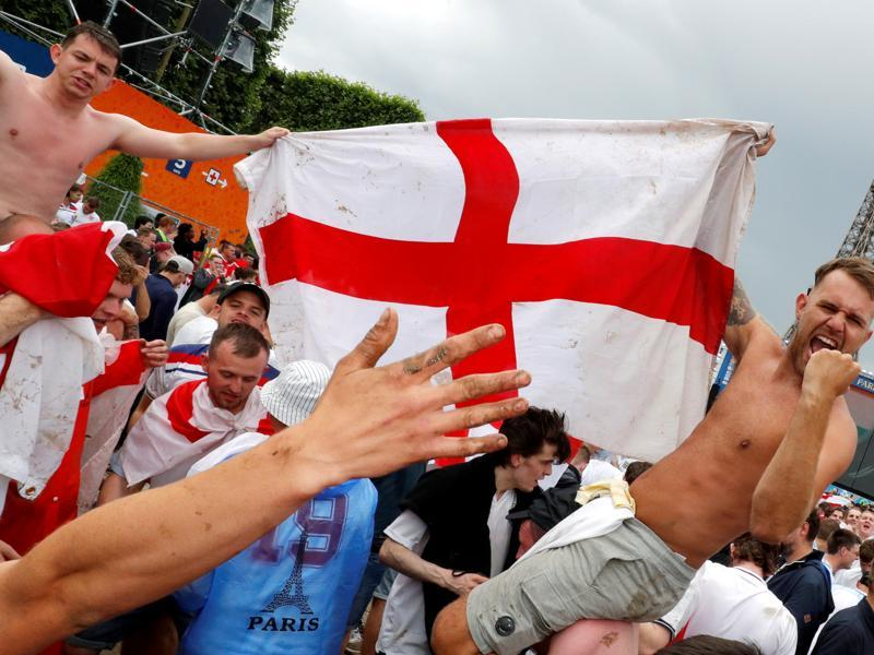 England fans react after their team won against Wales. (REUTERS photo)