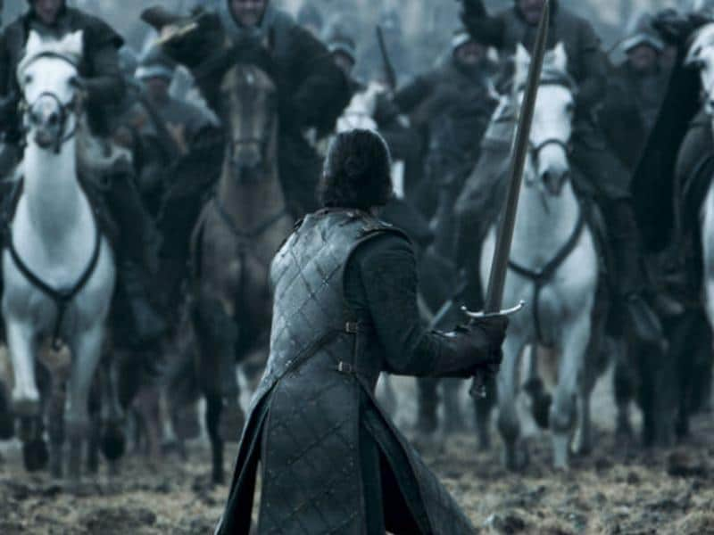 Yaass Jon Snow! Swing that sword but don't get your own head chopped off in the process. (HBO)