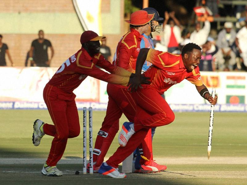 Zimbabwean players celebrate after winning the first T20 International against India at Harare Sports Club, on June, 18, 2016. Zimbabwe lead the three-match series 1-0. (AP)