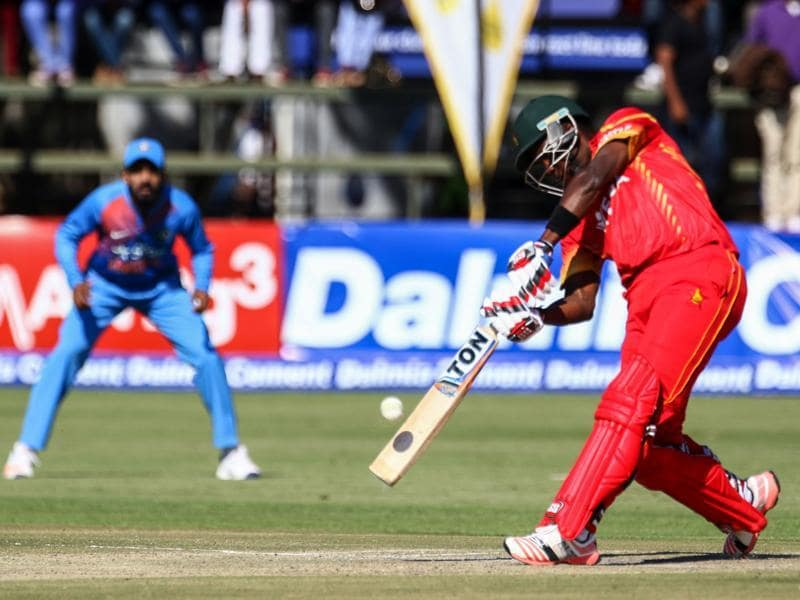 Zimbabwe's Elton Chigumbura hit 54 off 26 balls to help his team post 170/6. (AFP)
