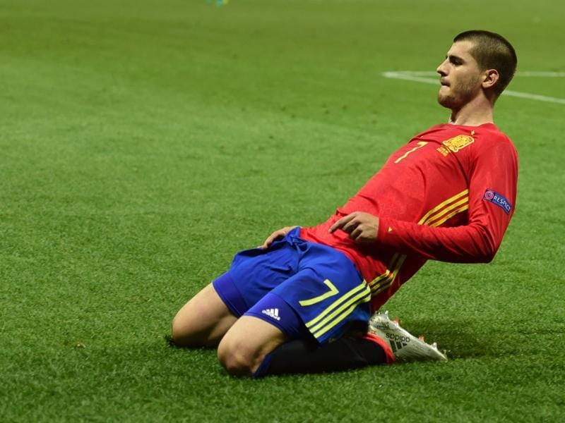 Spain's forward Alvaro Morata celebrates his goal. (AFP Photo)