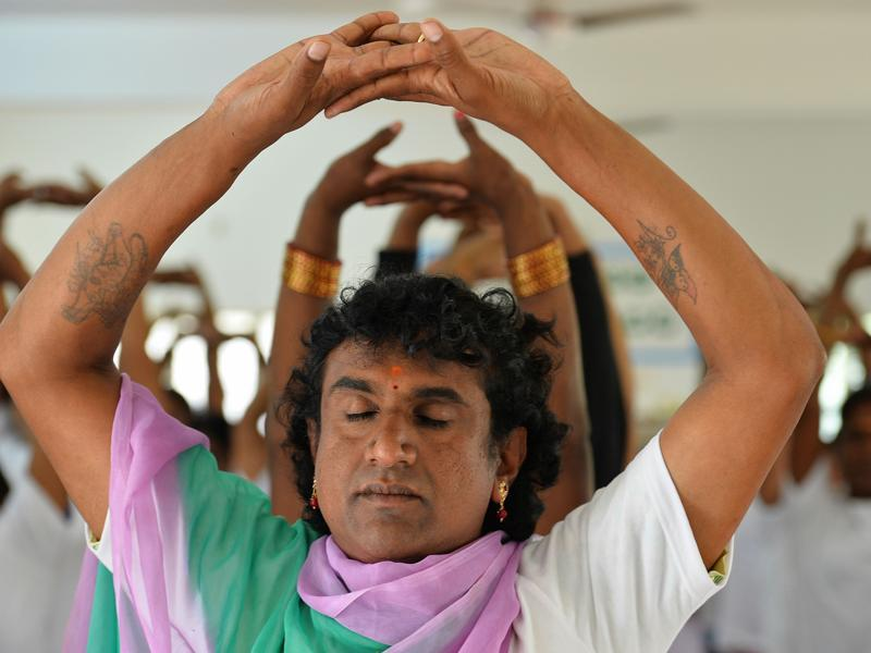 Transgender yoga participants take part in a yoga class in Bangalore. (AFP)