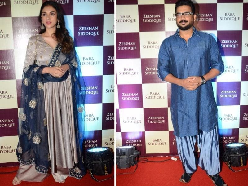 Aditi Rao Hydari and Madhavan pose for the photographers at the party.  (IANS)