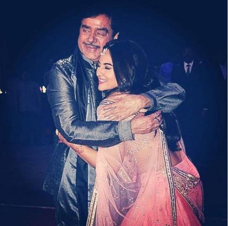 Sonakshi and Shatrughan Sinha and a warm hug. (Instagram)