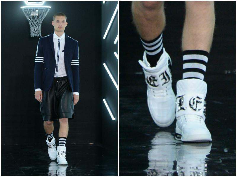 Philipp Plein's sportswear inspired collection brought together athleisure with sharp tailoring. (AFP)