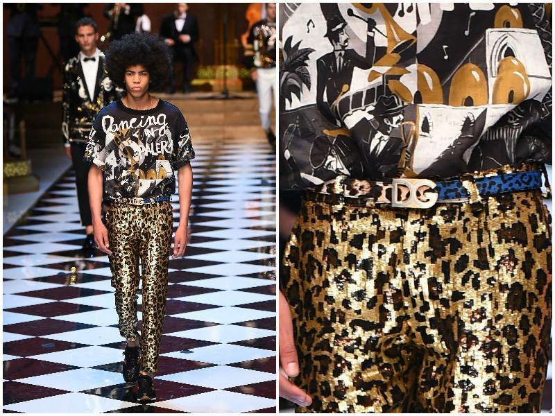 Dolce & Gabbana went all out with a jazzy, festive collection featuring wild animal prints and sequins galore. (AFP)