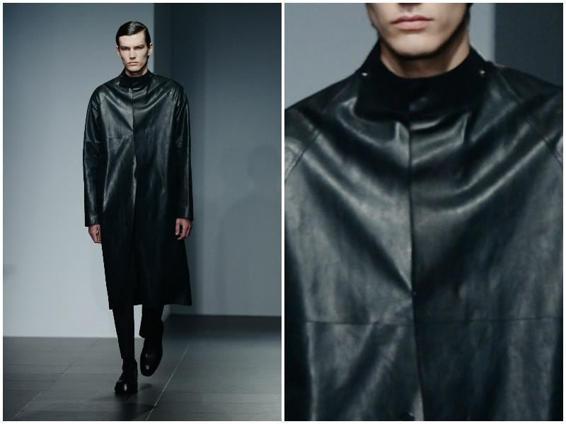 Jil Sander opts for a streamlined utilitarian aesthetic in monochromatic black. (AFP)