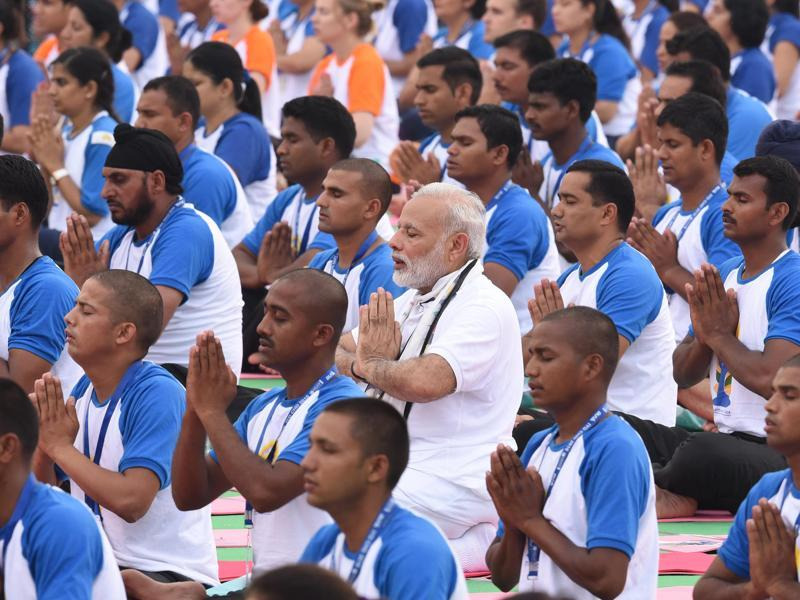 Prime Minister Narendra Modi joins  Yoga Day celebrations at Capitol Complex in Chandigarh on . (Sanjeev Sharma/HT Photo)