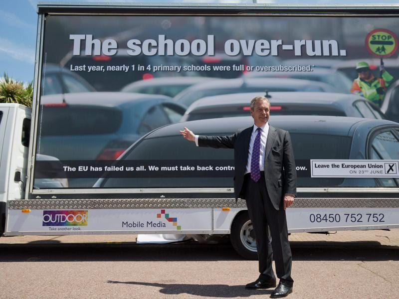 "UK Independence Party (UKIP) leader Nigel Farage has left no stone unturned to drum up support for a decisive Brexit. His new campaign poster, which he unveiled at a rally at Clacton-on-Sea, eastern England, says the EU has ""failed us all"".  (AFP/Justin Tallis)"