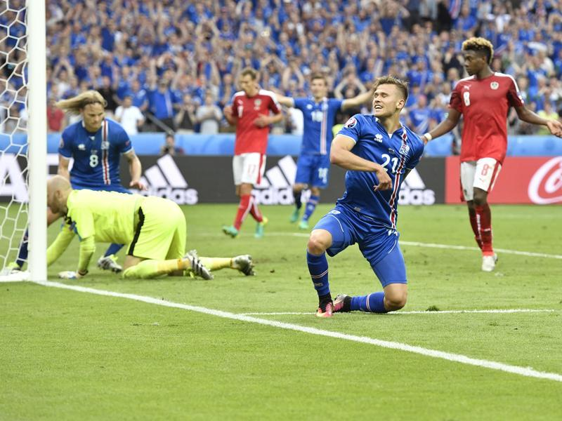 Iceland's Arnor Ingvi Traustason celebrates after scoring the winning goal. (AP)