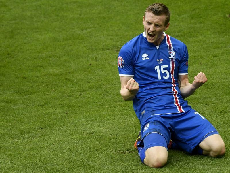 Jon Dadi Bodvarsson celebrates after scoring Iceland's first goal. (AFP)