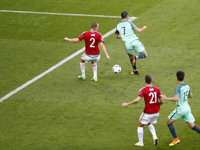 Ronaldo scores Portugal's second goal with a back-heel flick. (REUTERS)