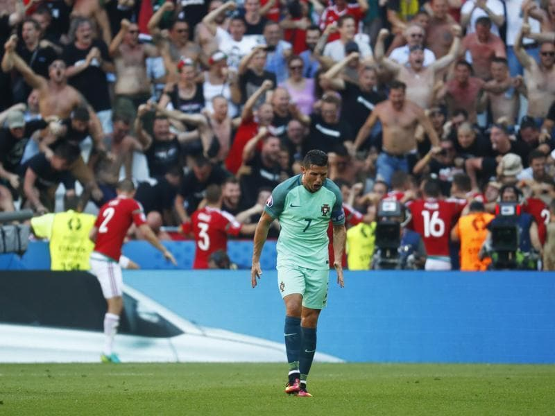 Cristiano Ronaldo reacts after Balazs Dzsudzsak (not pictured) scores Hungary's third goal. (REUTERS)
