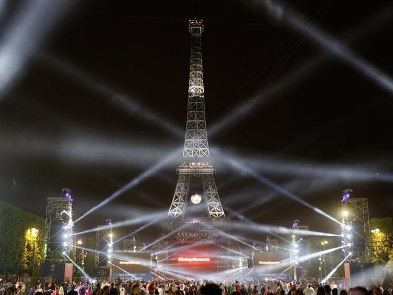 The Eiffel Tower is lit up after the France vs Romania EURO 2016 Group A football match. (Reuters Photo)