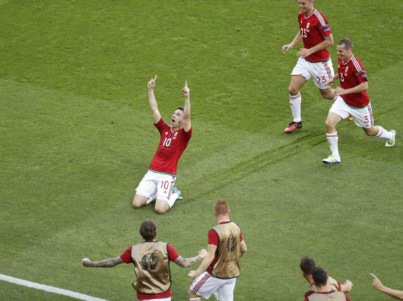 Hungary's Zoltan Gera, 10, celebrates after scoring his side's first goal. (AP)