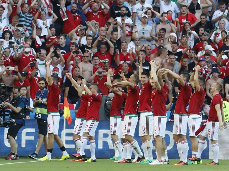 Hungarian players acknowledge fans at the end of the match. (AP)