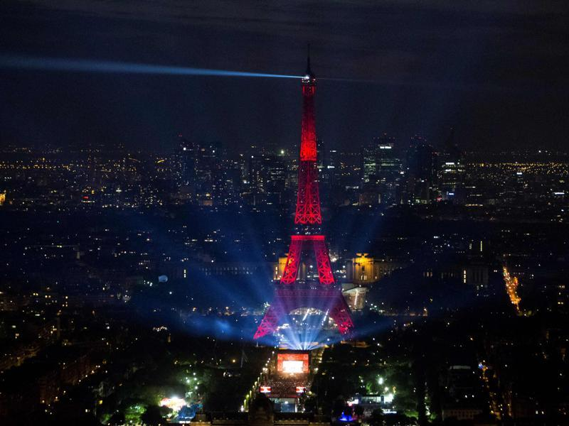 The opening concert was held on Champs de Mars by the Eiffel Tower a day before the start of the Euro 2016 football championship. (AFP Photo)