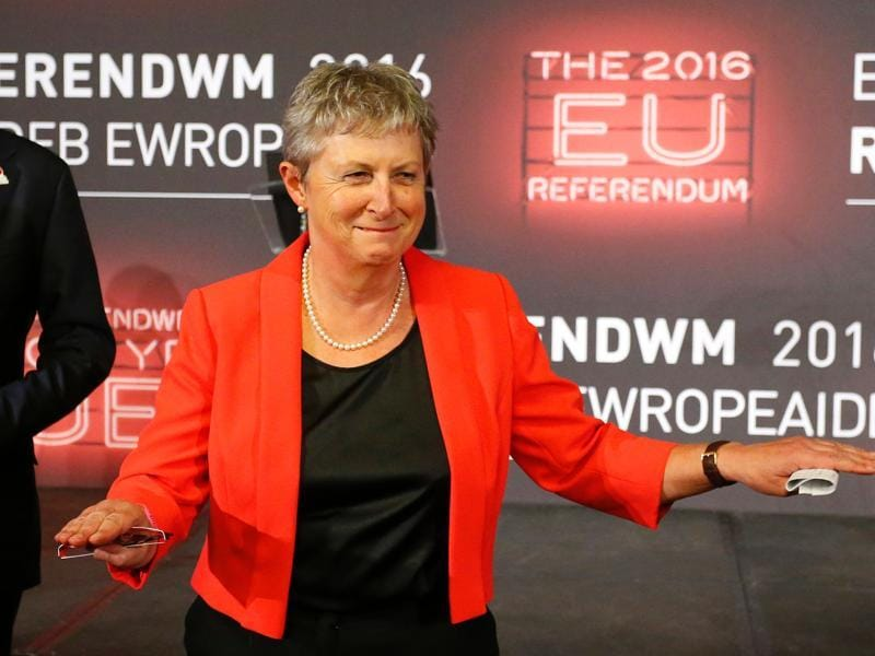 Gisela Stuart Labour Party MP for Birmingham Edgbaston and Chair of the Vote Leave campaign celebrates after the declaration of the results.  (AFP)