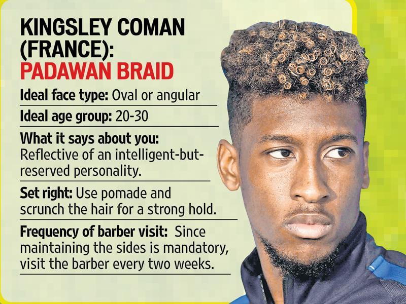Kingsley Coman has a Padawan braid on top with a crew cut on the side.