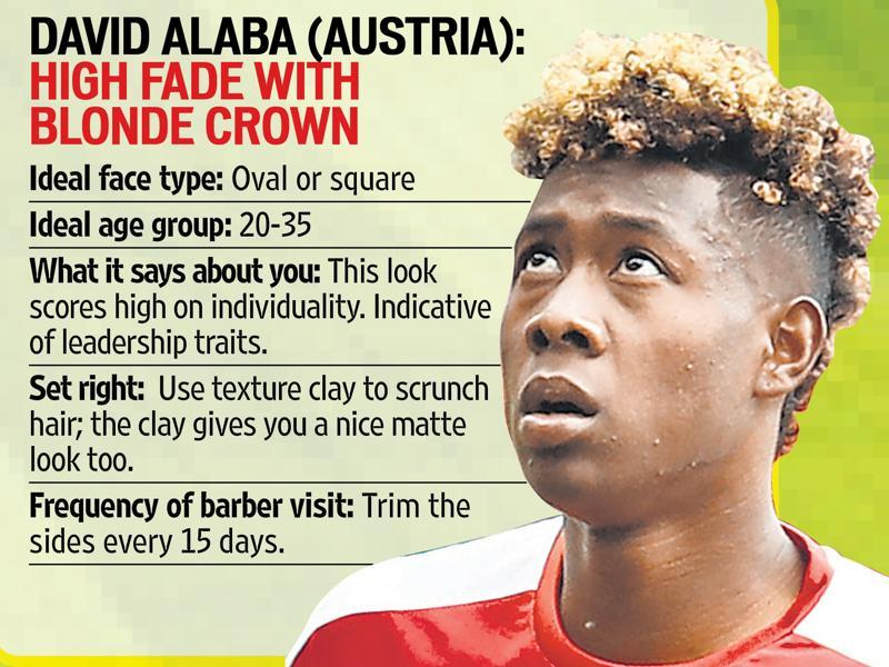 David Alaba has a radical high fade with a blonde crown.