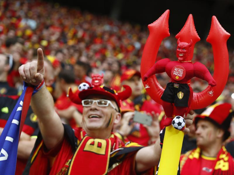 Belgium fans call upon the devil before the match on 13 June 2016. (REUTERS PHOTO)
