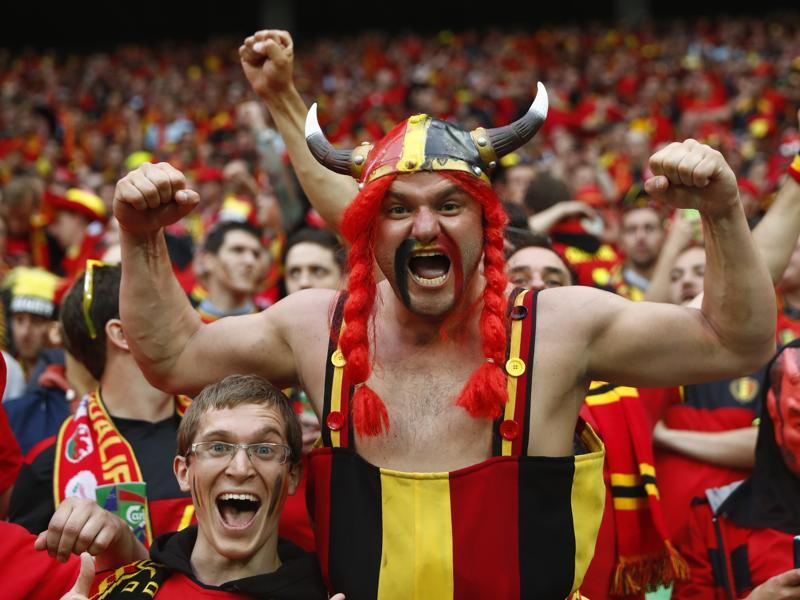 Belgium fans channel  their inner  Asterix spirit  before the match . (REUTERS photo)