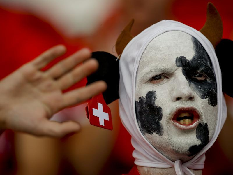 A Swiss fan waits for the start of the Euro 2016 Group A match between Romania and Switzerland at the Parc des Princes stadium in Paris, France. (AP photo)