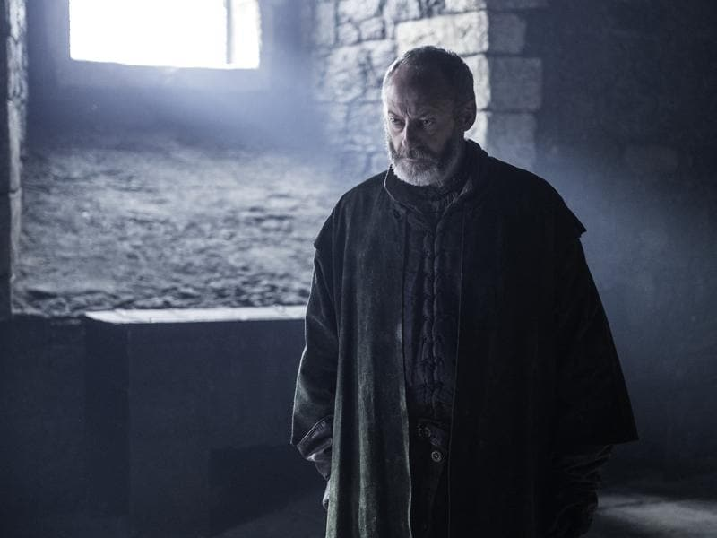 Ooooh! The Onion Knight looks really pissed. Maybe on Melisandre for, you know, burning his favourite girl alive. (HBO)
