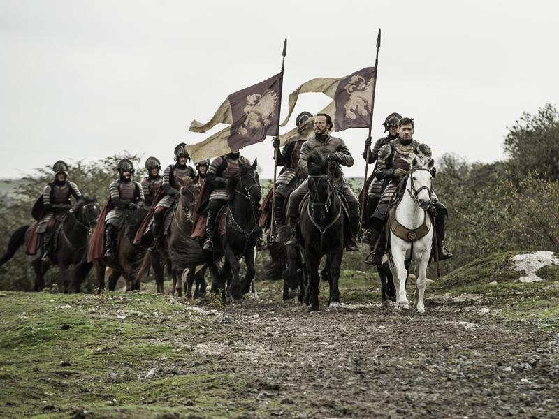 After the great victory over Riverrun, brave knights Jaime and Bronn and going back... (HBO)