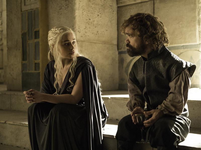 Tyrion and Daenerys looking all gloomy. But why? Isn't everything going swimmingly well at Mereen? (HBO)