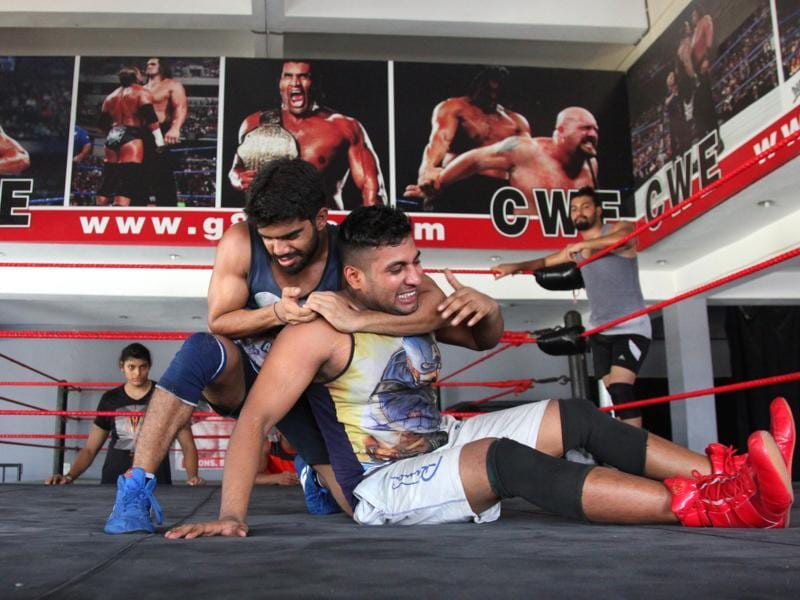 "Khali says there's big money at the end of the tunnel. ""Two of my trainees have got million-dollar contracts with WWE. They are at their in-house finishing academy before being put on the show. Another plays Hanuman in a TV serial."" (Anil Dayal/HT Photo)"