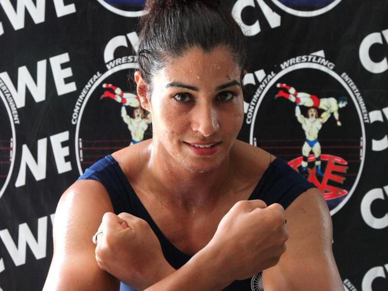"And here's the CWE roster - Hard KD:  Kavita Devi, 33, is from a farming family in Jind, Haryana, and most recently won gold in the 75 kg weightlifting category at the South Asian Games in February. ""I could not make the Rio (Olympics) cut, so headed here.""  (Anil Dayal/HT Photo)"