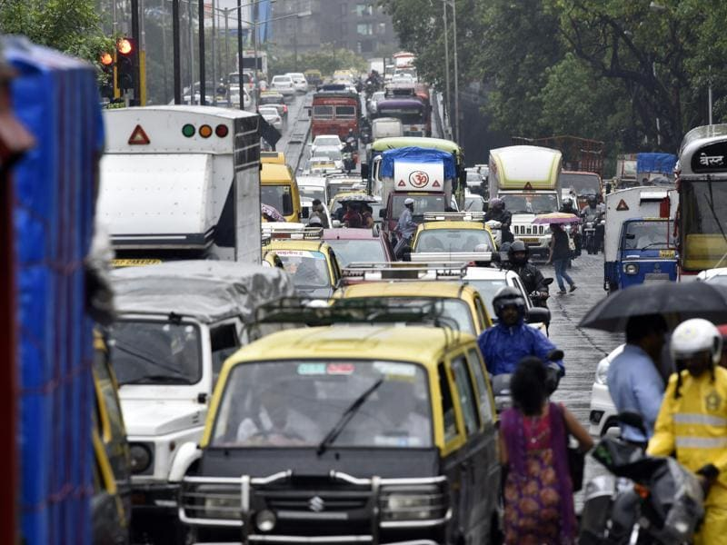 Traffic came to a standstill soon after a shower near Parel on Friday.  (Vijayanand Gupta)