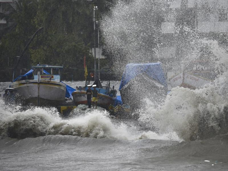 Waves hit the shore during a high tide at Colaba in Mumbai on Friday.  (Arijit Sen)
