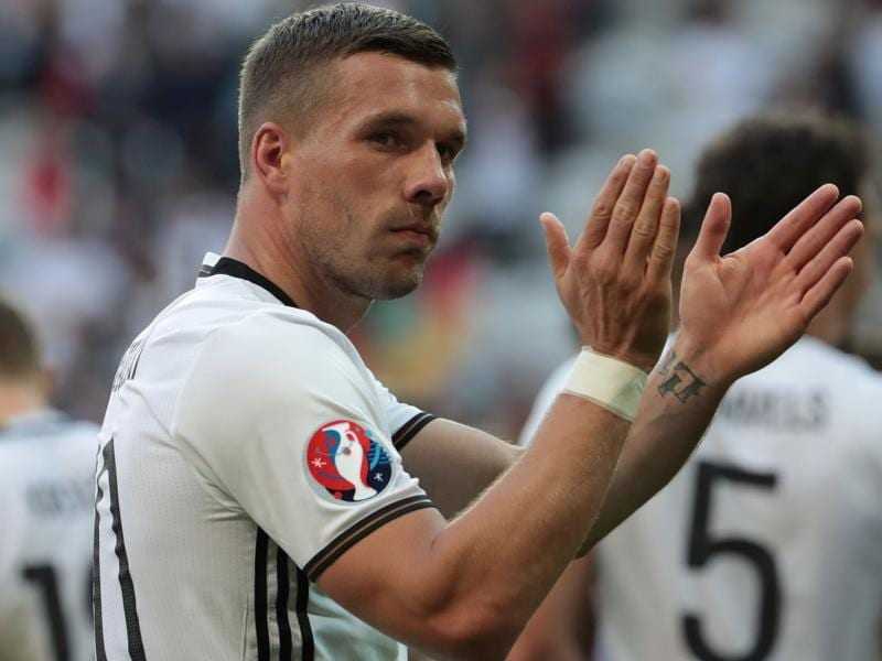 Germany's forward Lukas Podolski celebrates at the end of the Euro 2016. (AFP Photo)