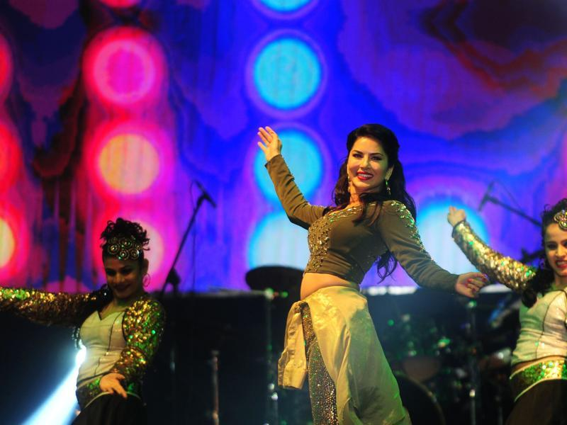 Sunny Leone dances at an event in Chennai on late 25 June.  (AFP)