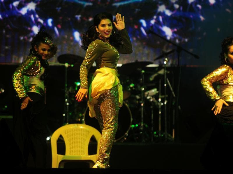 Sunny Leone shakes a leg at an event in Chennai on late 25 June. (AFP)