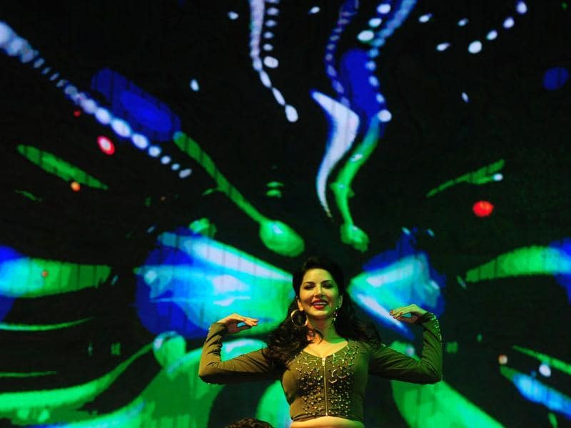 The well-lit stage added to Sunny Leone's glamour during an event in Chennai. (AFP)