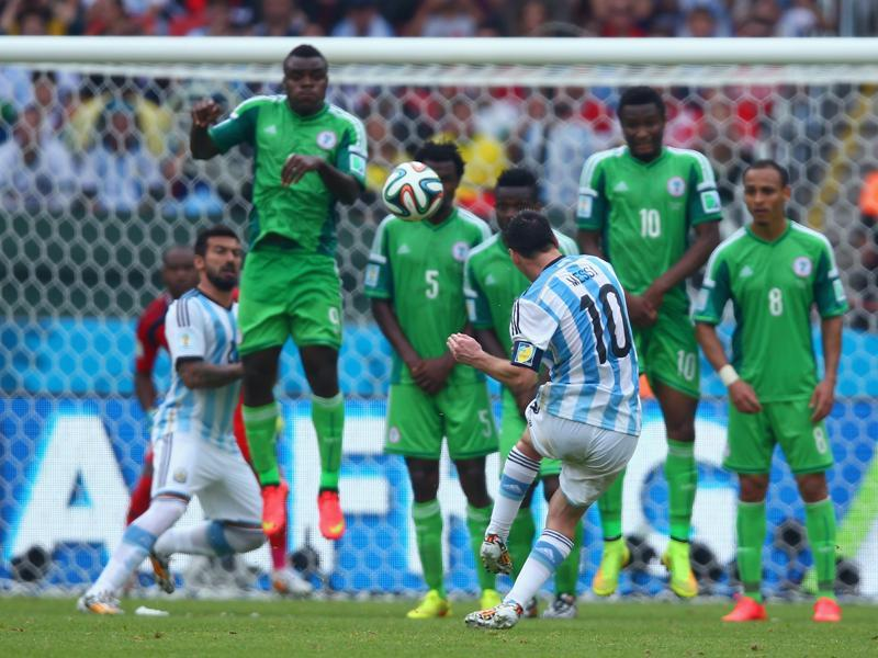 ionel Messi of Argentina scores his team's second goal and his second of the game during the 2014 FIFA World Cup Brazil Group F match between Nigeria and Argentina at Estadio Beira-Rio on June 25, 2014 in Porto Alegre, Brazil. (Getty Images)