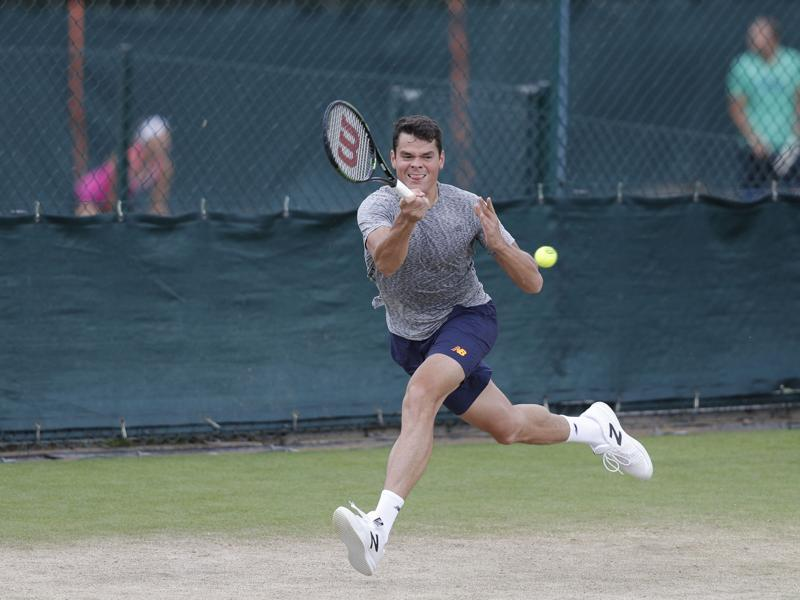 Canada's Milos Raonic plays a shot on a practice court. (AFP)