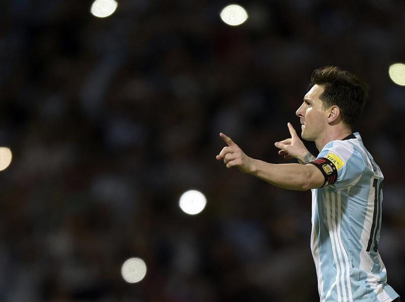 Argentina's Lionel Messi celebrates after scoring against Bolivia during their Russia 2018 FIFA World Cup South American Qualifiers' football match in Cordoba. (AFP)