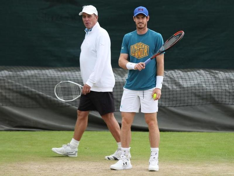 Great Britain's Andy Murray and coach Ivan Lendl during a practice session. (Reuters)