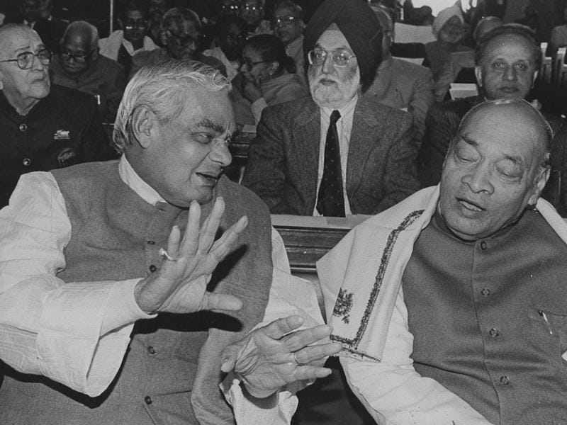 Rao always shared cordial relations with the opposition, including BJP leaders such as  Atal Bihari Vajpayee. In the past few years, the BJP has made a concerted effort to reclaim Rao's legacy, with Prime Minster Narendra Modi sanctioning a memorial for him after he came to power.  (HT Photo)
