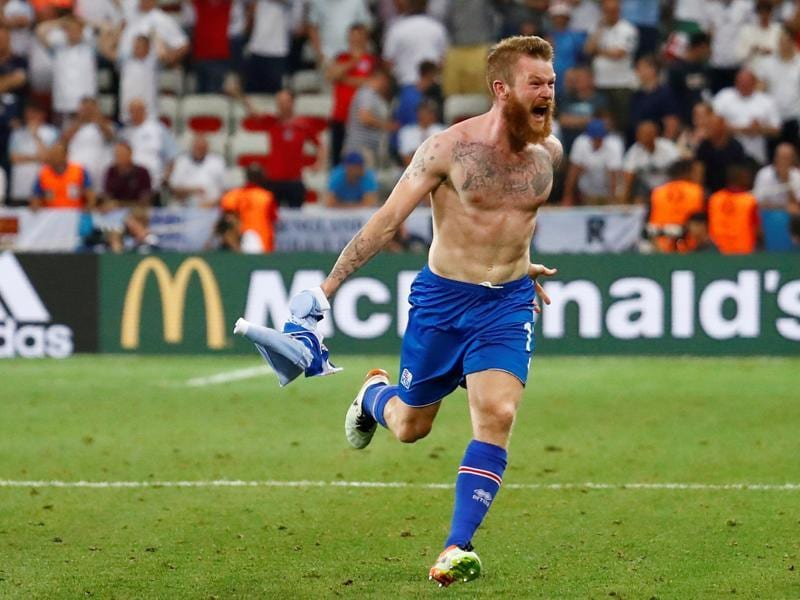 Iceland's Aron Gunnarsson celebrates after the game. (REUTERS PHOTO)