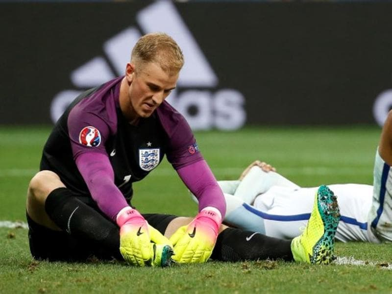 England goalkeeper contemplating the gutting loss to Iceland. (Ap photo)