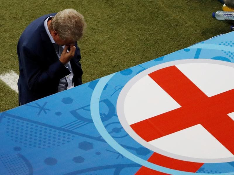 England head coach Roy Hodgson  after England's heartbreaking loss. (REUTERS  PHOTO)