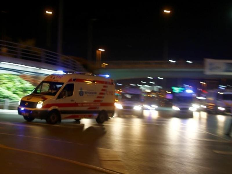 Ambulances arrive at the Istanbul Ataturk airport on Tuesday. (Reuters)