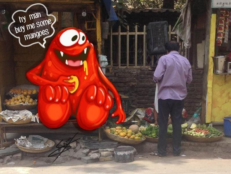A mango-loving monster spotted in a lane in Dombivli.  (Courtesy: Sebin Simon )