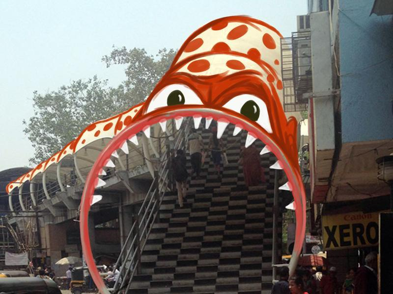 A monster devouring the bridge at Dombivli station.  (Courtesy: Sebin Simon )